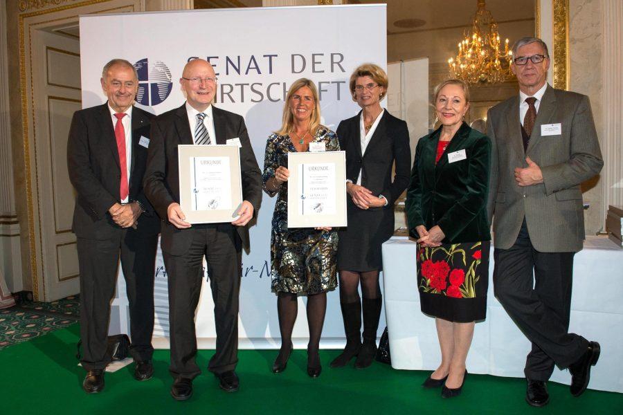 Vlnr: Prof. Dr. Dr. F.-J. Radermacher, Prof. Dr. Hartmut Schröder, Dr. med. Michaela Ludwig, Katharina Thaysen-Bender (Mitglied des Präsidiums), Dr. Benita Ferrero-Waldner, Dr. Walter Döring